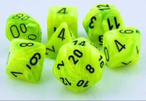 neon yellow green dice black text