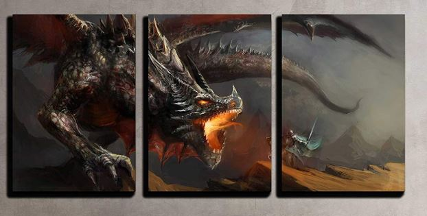 knight fighting dragon wall art